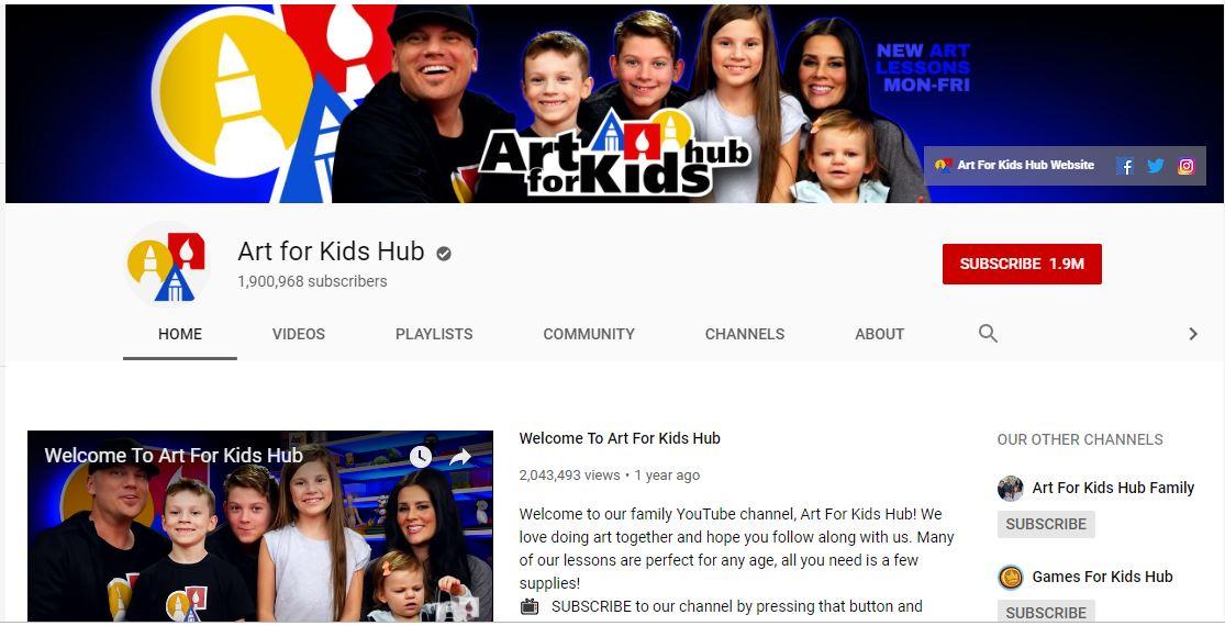 Một kênh youtube hữu ích khác có thể kê đến là Art for kids hub