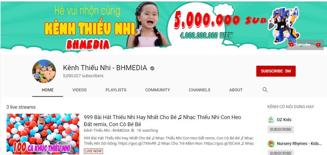 BHMEDIA là kênh youtube cho trẻ em với nội dung hay và nhân văn