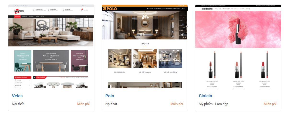 Một số giao diện website bán hàng đẹp