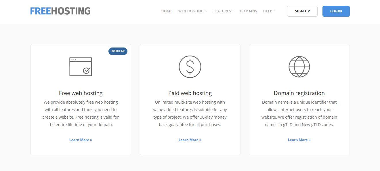 Hosting miễn phí freehosting.com