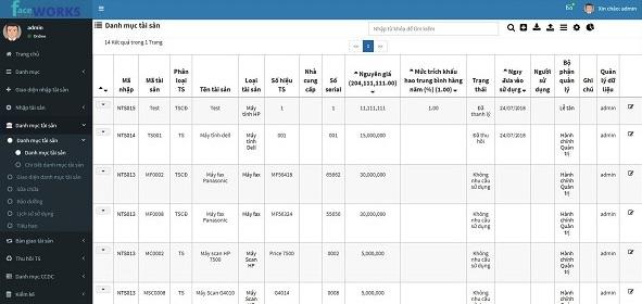 phần mềm quản lý tài sản của Faceworks